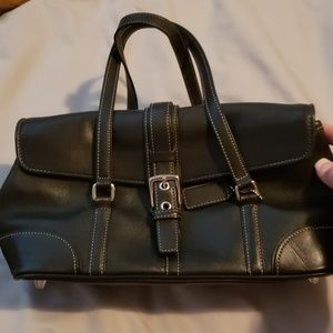 Black leather mini coach purse